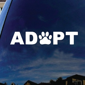 "ADOPT Dog Cat Paw Print Car Truck Laptop Sticker Decal 6"" Wide"