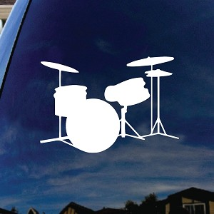 "Drums Silhouette Music Instruments Car Window Vinyl Decal Sticker 5"" Wide"