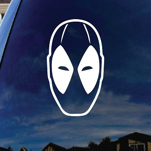 "Dead Comic Pool Face Silhouette Car Sticker Decal 5"" Wide"